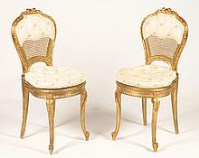 PR FRENCH LOUIS XV GILTWOOD CARVED CHAIRS 1910