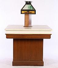 BANK TABLE MARBLE TOP OAK & SLAG GLASS LAMP 1910
