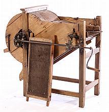 19TH CENT. HAND CRANK WOOD & IRON WASHING MACHINE