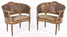 PAIR PAINTED CARVED LOUIS XVI WINDOW BENCHES 1920