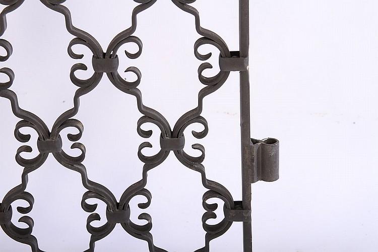 Pair wrought iron garden gates scroll pattern