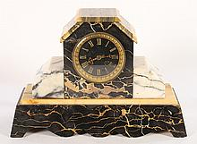WHITE AND BLACK MARBLE FRENCH MANTLE CLOCK