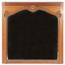 LOUIS XV CARVED OAK OVER MANTLE MIRROR 1910