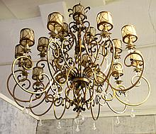 WROUGHT IRON PAINT DECORATED CHANDELIER 12 LIGHTS