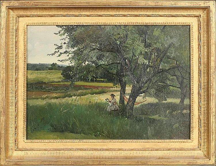 CHARLES LEWS FUSSELL AMERICAN LISTED OIL CANVAS