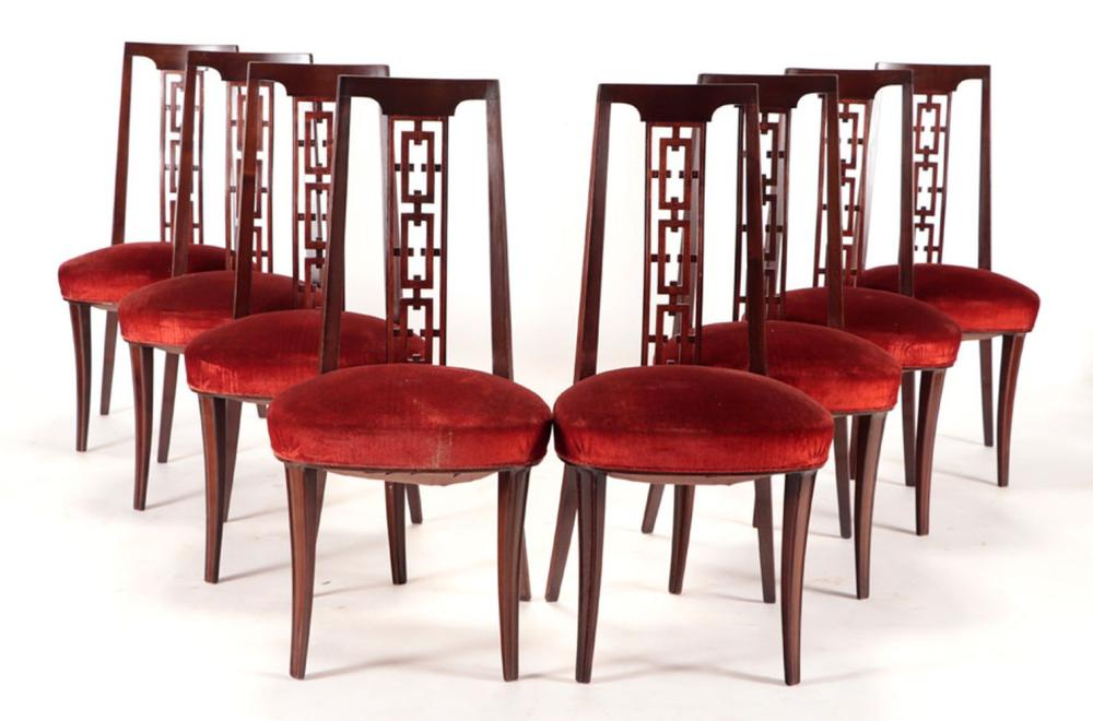 8 MAHOGANY DINING CHAIRS MANNER MONT C 1950