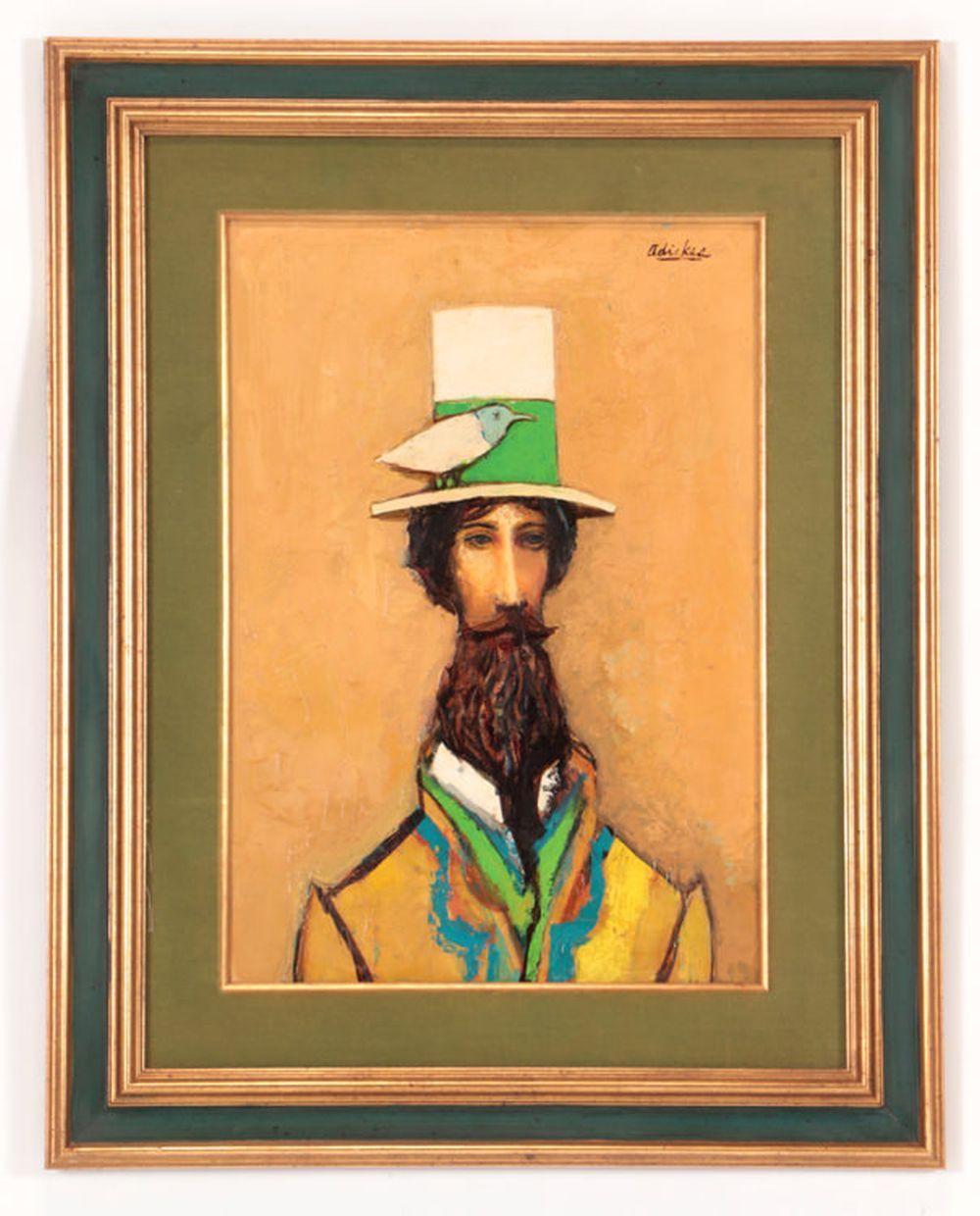 """DAVID ADICKES """"PORTRAIT OF MAN WITH HAT"""" SIGNED"""