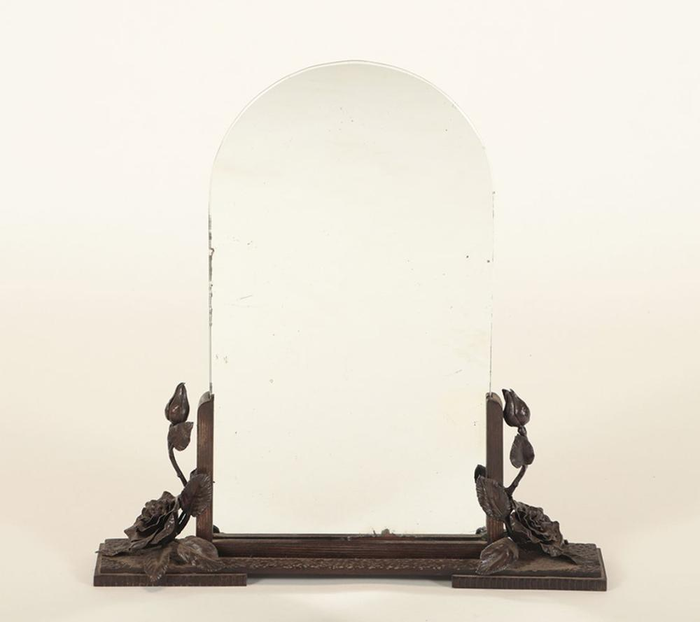 FRENCH WROUGHT IRON MIRROR ON STAND