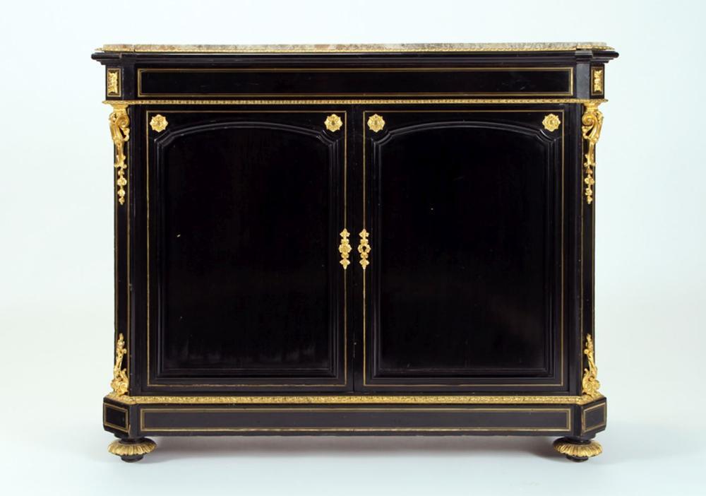 NAPOLEON III EBONIZED GILT BRONZE CABINET C 1880