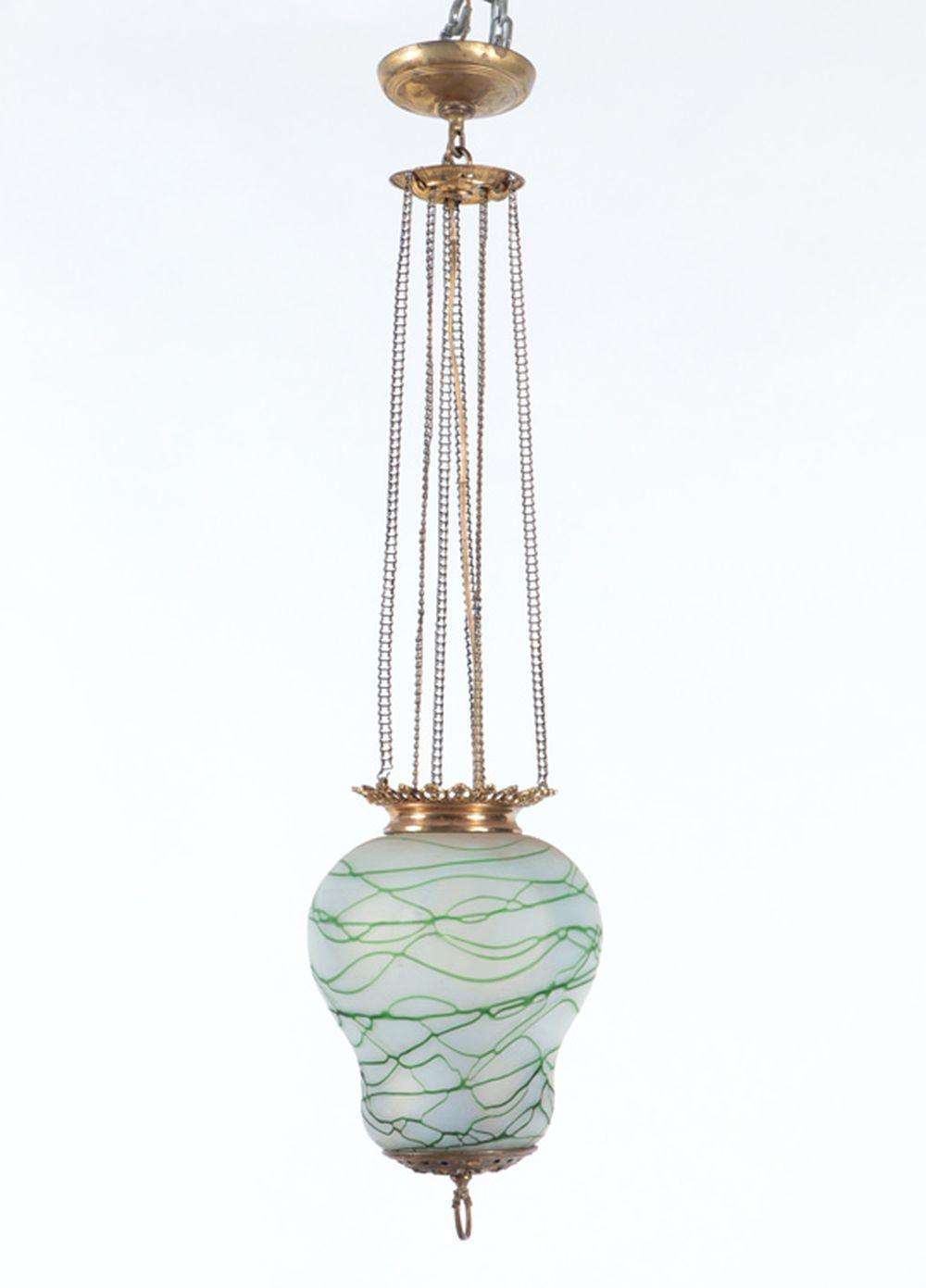 19TH C. HANGING OIL LAMP ART GLASS SHADE