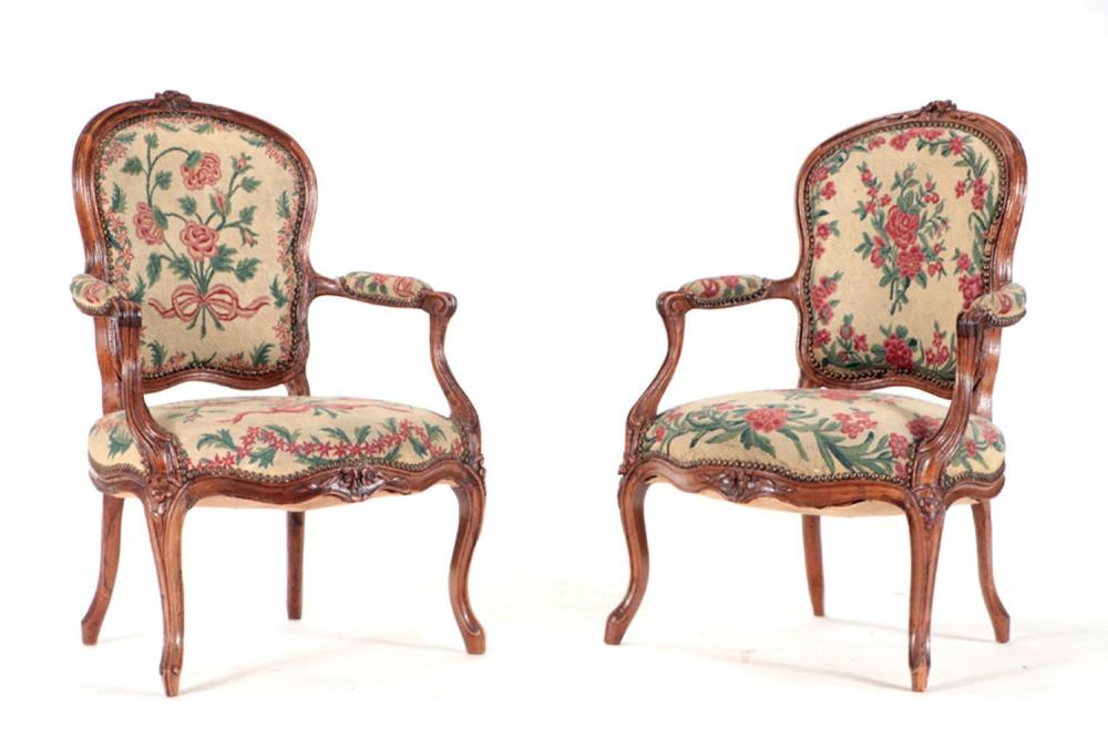 PAIR 18TH CENTURY FRENCH LOUIS XV ARM CHAIRS