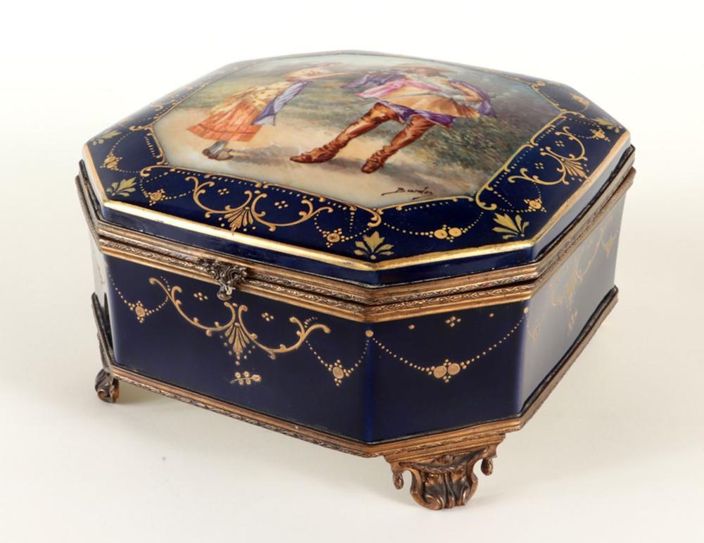 19TH C. SEVRES PORCELAIN HINGED BOX GILT DETAILS