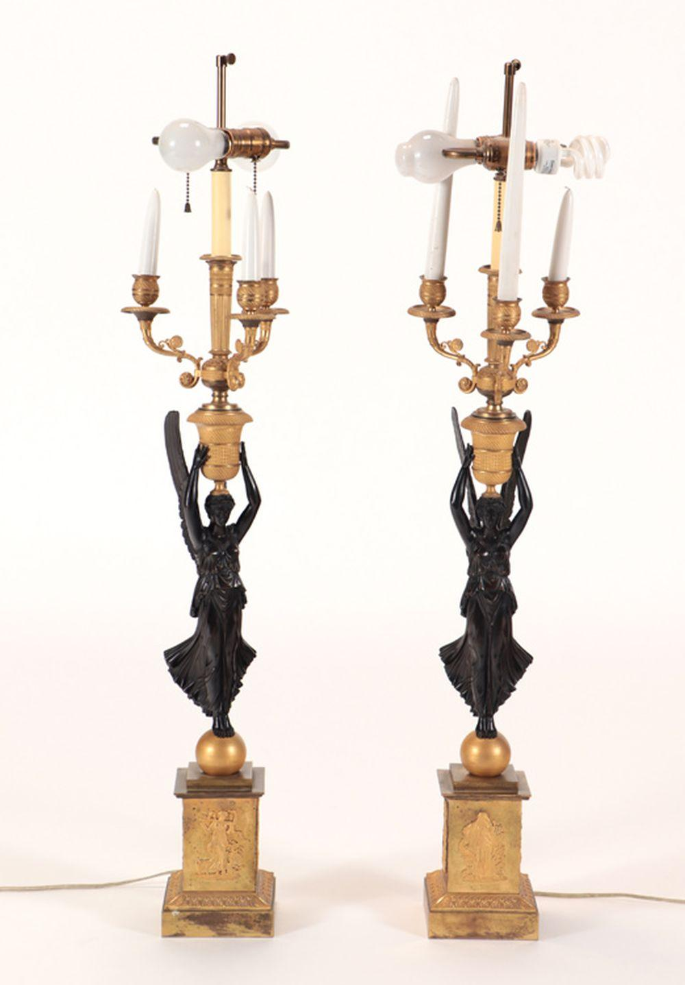 PAIR LARGE NEOCLASSICAL STYLE BRONZE LAMPS 1920