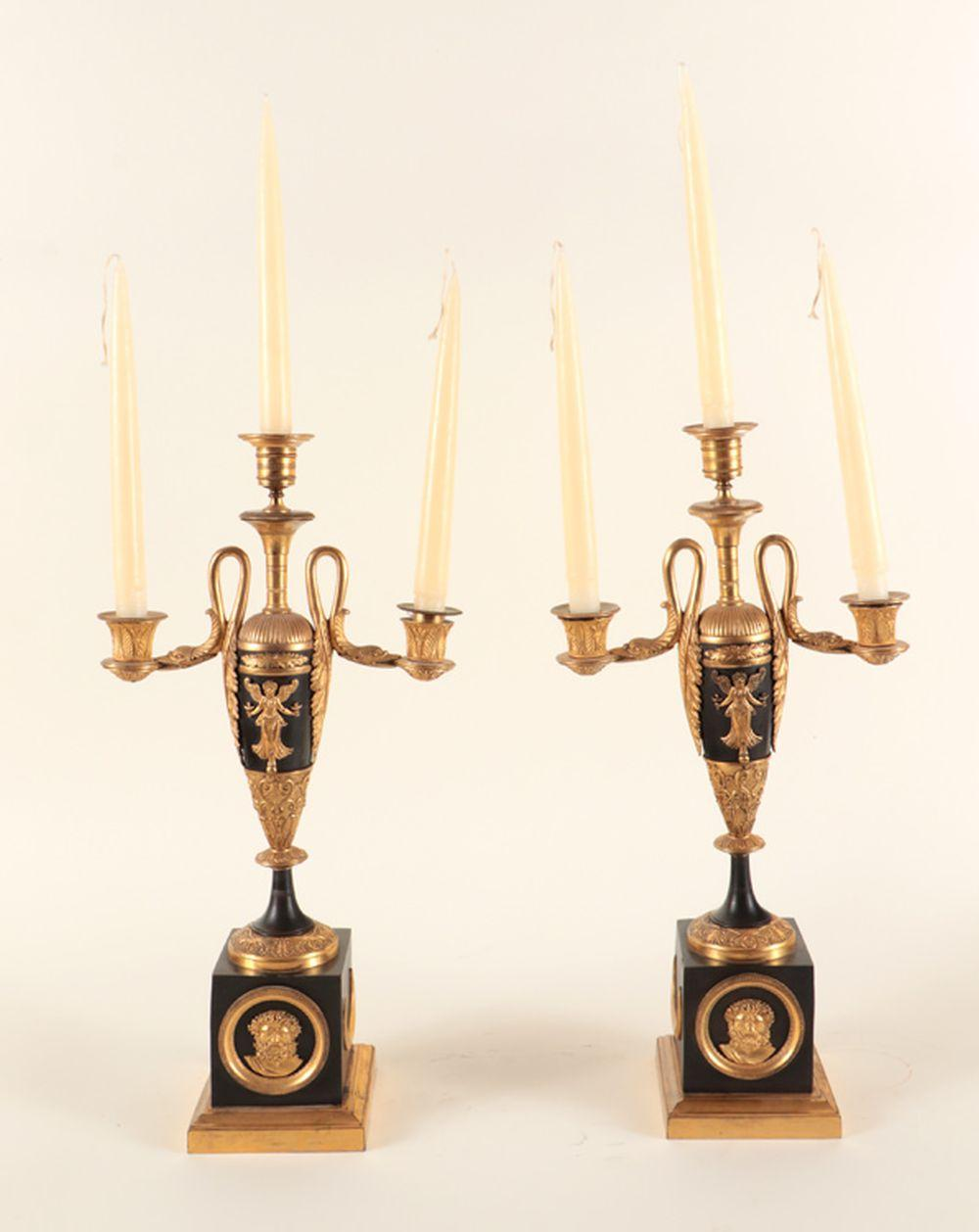 PAIR FRENCH EMPIRE STYLE BRONZE CANDELABRAS 1920