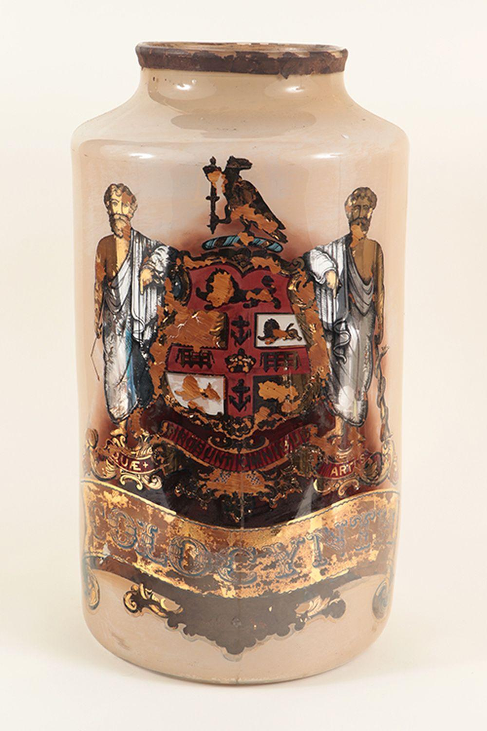 19TH C. REVERSE PAINTD GLASS APOTHECARY JAR