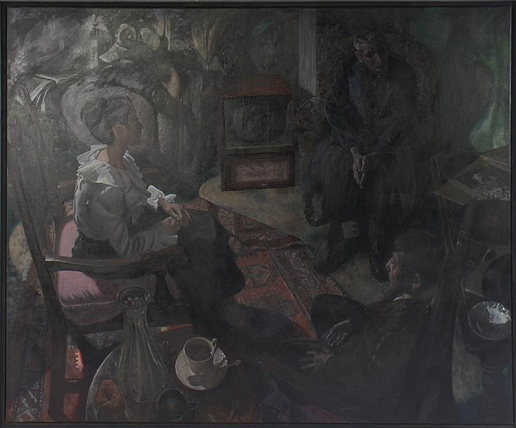 CLAYTON ANDERSON OIL ON CANVAS LIVING ROOM SCENE