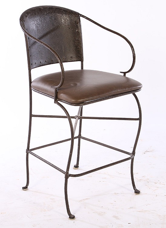 Pair Wrought Iron Bar Stools Leather Seats