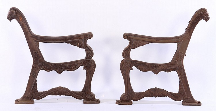 Unusual Pair Cast Iron Bench Ends Paw Feet