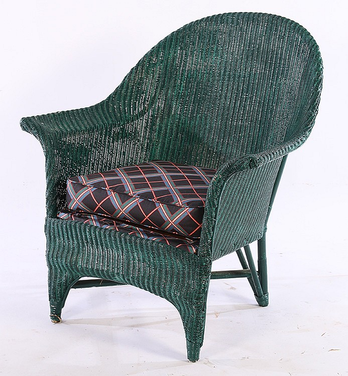 2 Pcs Vintage Green Painted Wicker Couch Chair