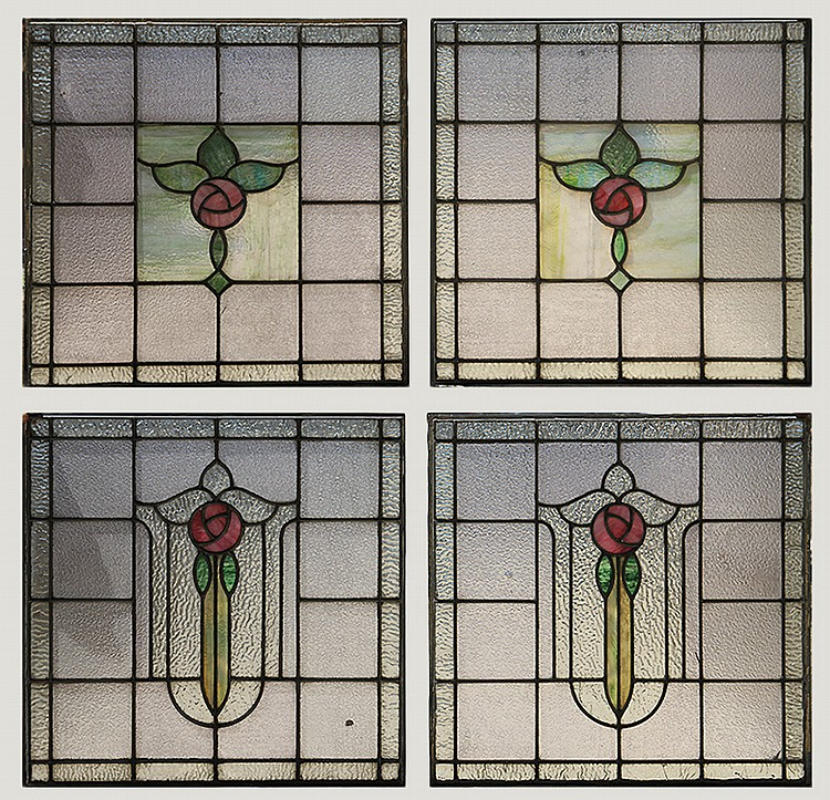 4 stained glass windows foliate theme for 1900 stained glass window