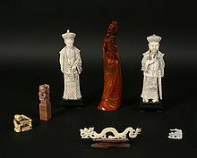 LOT OF 7 ASIAN CARVINGS IVORY SOAPSTONE AND MORE