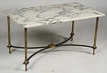 FRENCH BRONZE IRON COFFEE TABLE REEDED COLUMNS