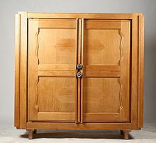 TWO DOOR OAK CABINET CIRCA 1950