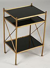 REGENCY BRASS SIDE TABLE INSET BLACK GLASS 1960
