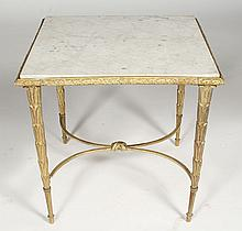 GILT BRONZE BAQUES COFFEE TABLE MARBLE 1950