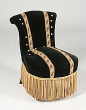 SMALL FRENCH SLIPPER CHAIR MOHAIR UPHOLSTERY 1880