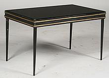 PETITE IRON BRONZE COFFEE TABLE BLACK GLASS 1940