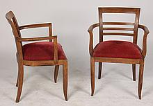 PR OF FRENCH OAK ARM CHAIRS OPEN ARMS C. 1940