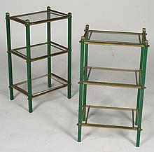 PAIR OF BRASS SIDE TABLES GLASS TOP C. 1950