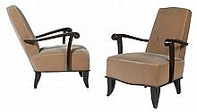 PR FRENCH MOHAIR UPHOLSTERED LOUNGE CHAIRS C.1940