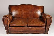 20TH C. FRENCH LEATHER CLUB SOFA ROLLED ARMS