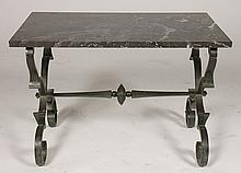 HAND WROUGHT IRON MARBLE TOP COFFEE TABLE