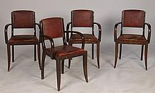 SET 4 FRENCH ARM CHAIRS ORIGINAL LEATHER 1940