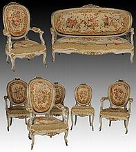 L.15 CARVED PAINTED SALON SET SETTEE CHAIRS 1880
