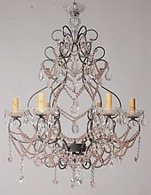 WROUGHT IRON DROP CRYSTAL 6 ARM CHANDELIER