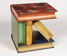ITALIAN PAINTED TOLE BOOK SIDE TABLE FAUX MARBLE