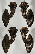 SET 4 LARGE BRONZE 1 ARM WALL SCONCES 1910