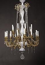 OPAQUE WHITE GLASS GILT BRONZE CHANDELIER FRENCH