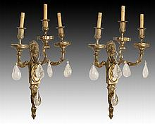 PAIR OF EMPIRE BRONZE SCONCES ROCK CRYSTAL DROPS