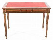 FRENCH MAHOGANY LEATHER TOP WRITING TABLE C.1910