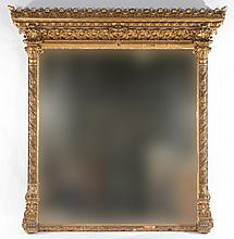 LARGE LOUIS XV GILT OVER MANTLE MIRROR 1890