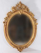 19TH CENT. FRENCH GILT GESSO OVAL MIRROR
