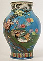 SATSUMA BALUSTER VASE CHINESE BLUE W/ DECORATIONS
