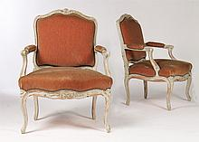 PAIR FRENCH LOUIS XV STYLE CARVED OPEN ARM CHAIRS