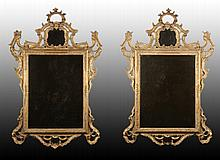 PAIR OF CHIPPENDALE GILT WOOD CARVED MIRRORS