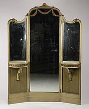 POLYCHROMED TRIPTYCH MIRROR FRENCH CIRCA 1930